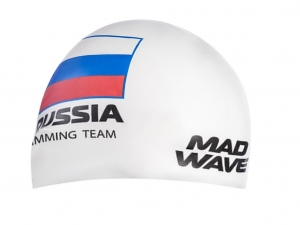 Шапочка MadWave Russian Swimming Team, white